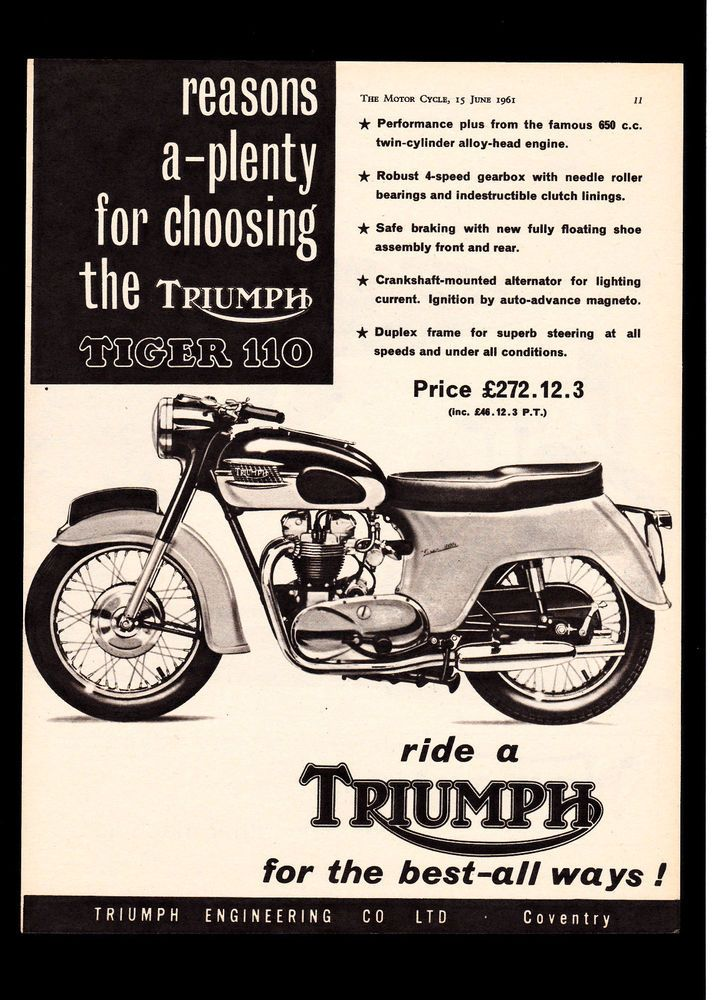 june 1961 triumph 650 tiger 110 t110 motorcycle. magazine advert