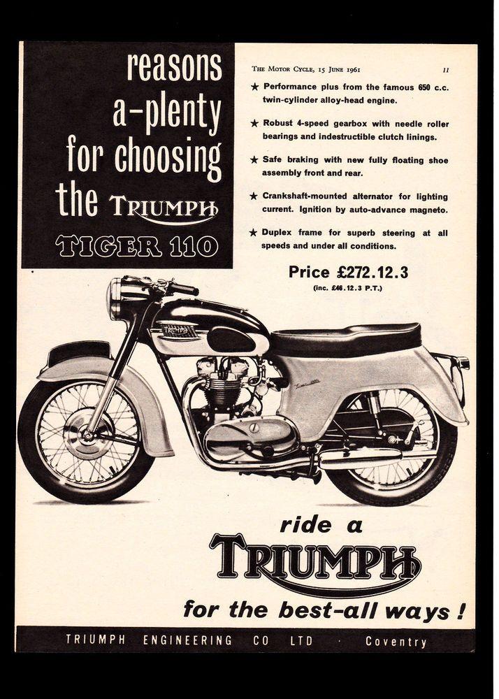 june 1961 triumph 650 tiger 110 t110 motorcycle. magazine advert