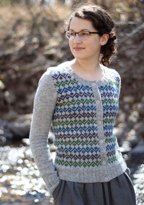 Rebecca's Ursula, knit in four lovely shades of Jamieson and Smith jumper weight: 203, 118, fc14 and fc41