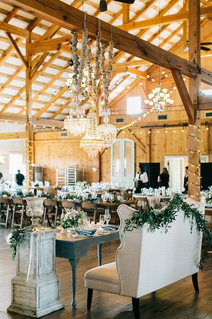 Country Elegance Barn Wedding In French Blue And White Rustic Barn Wedding Reception Barn Wedding Reception Barn Wedding Decorations