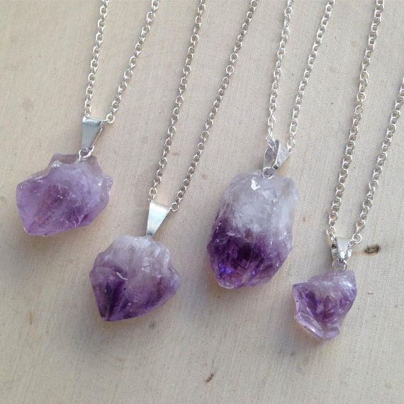 Raw Amethyst Necklace on Sterling Silver Chain: by MalieCreations