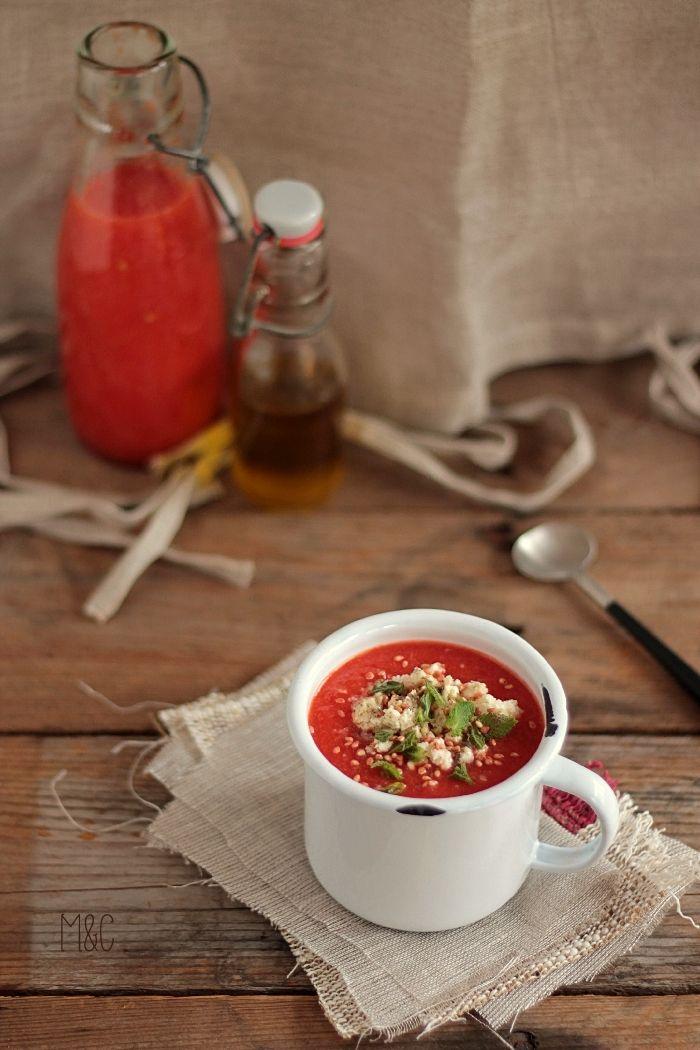 Gaspacho Pastèque Tomate Poivron Grillés http://www.maryseetcocotte.com/2016/07/15/on-se-rafraichit-la-chaleur-revient/#more-9621