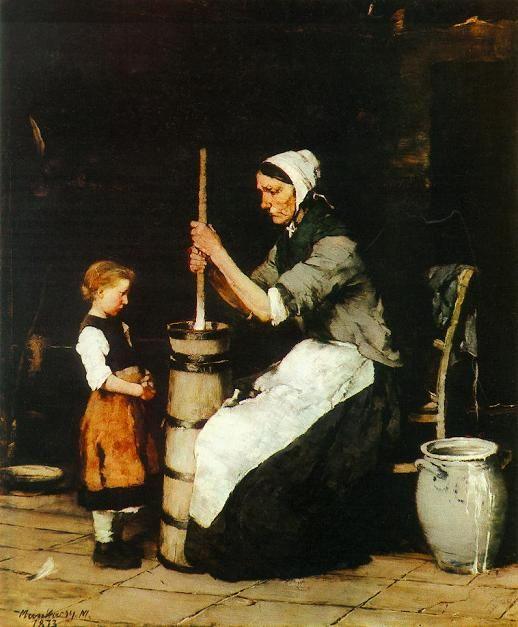 A köpülő asszony (1872-73.) Munkácsy Mihály  (Hungarian 1844-1900)