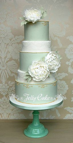 Peonies and Lace Wedding Cake ~