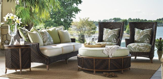 Pair of Tommy Bahama Patio Wing Chairs, Round Outdoor Storage Ottoman and Customizable Outdoor Sofa