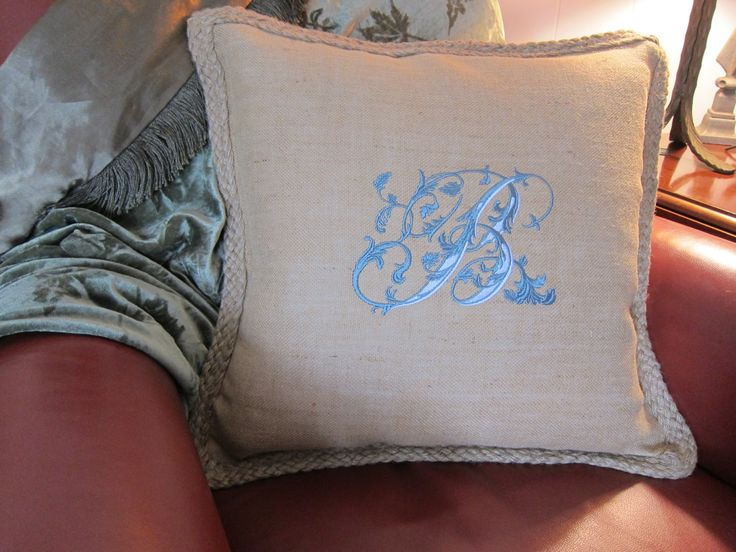 Monogrammed Burlap Pillow for a Good Cause!