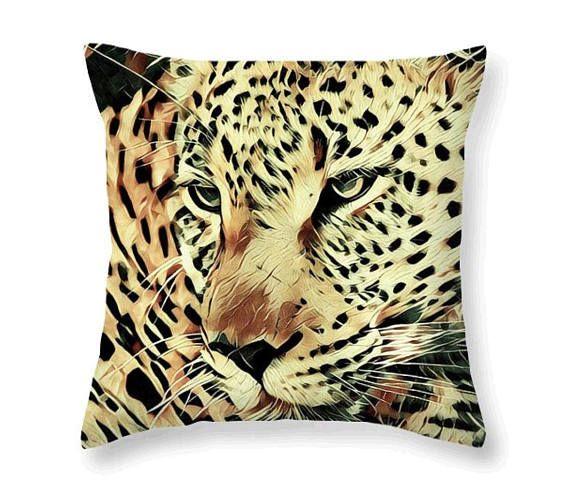 Big Cat Animal Throw Pillow Yellow & Forest Green Leopard Art