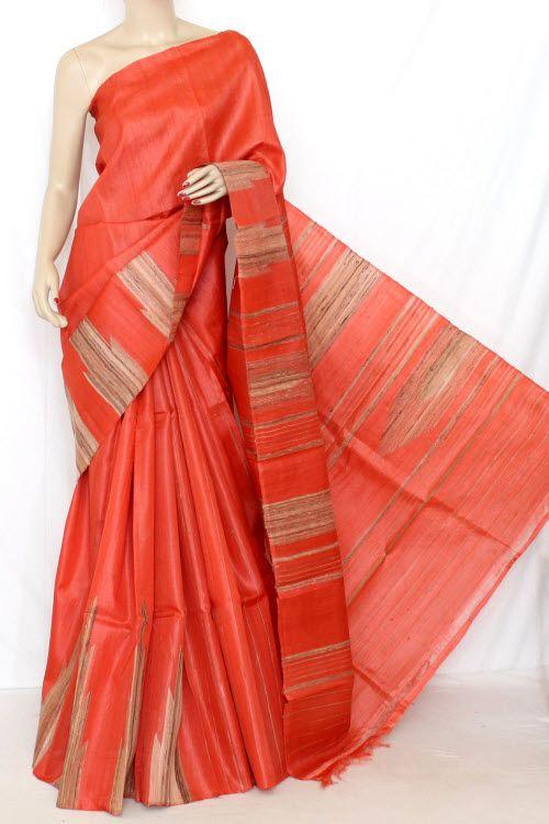 Orange Exclusive Double Knitted Murshidabadi Pure Silk with Ghicha Border & Pallu (with Blouse) 13799