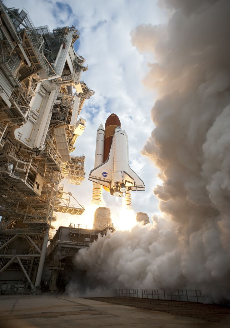 Space shuttle Endeavour's main engines and solid rocket boosters burst to life lifting the shuttle from Launch Pad 39A at NASA's Kennedy Space Center in Florida. Endeavour began its final flight, the STS-134 mission to the International Space Station.