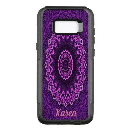 Purple and pink stylish mandala with name OtterBox commuter samsung galaxy s8 case - pink gifts style ideas cyo unique