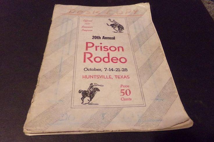 Vintage Texas Prison Rodeo Huntsville Texas 1951 Map Bronco Riding Bull Riding
