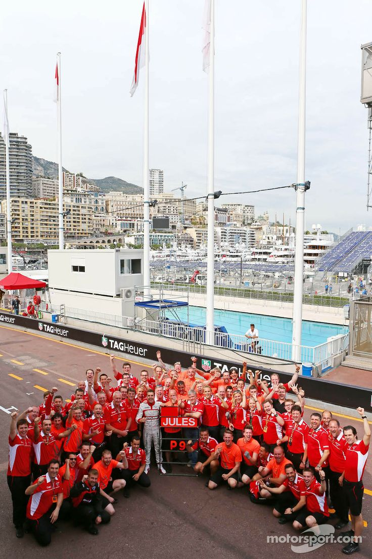 Jules Bianchi, Marussia F1 Team celebrates his and the team's first F1 points with the team