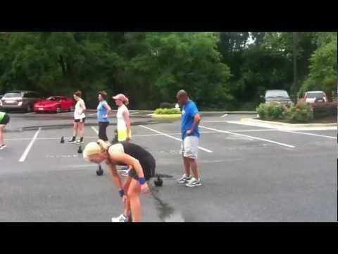 Russian Kettlebell Fat Loss Workout  Snatch to Sqaut / KB Thruster  (1 per side)  10 Walking swings