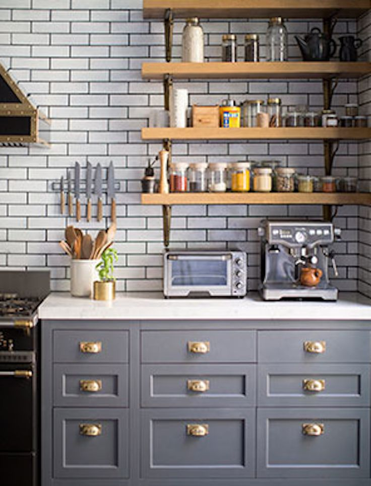 #kitchen, #shelf, #backsplash, #tile, #kitchen-cabinets, #gray    View entire slideshow: 15 Stunning Gray Kitchens on http://www.stylemepretty.com/collection/277/