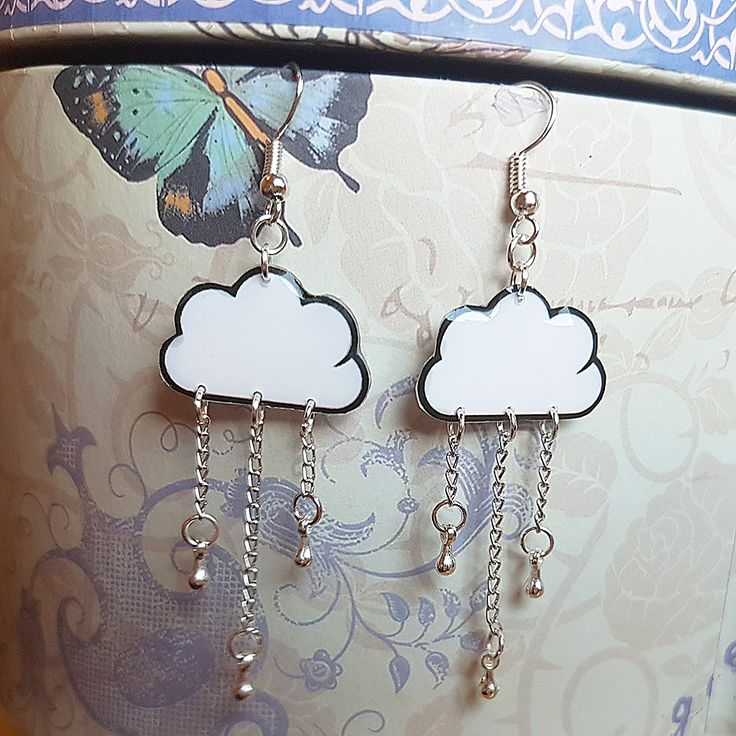 Cloud and Silver Drops Earrings #rayolabijoux on #etsy #cloud and #silver #drops