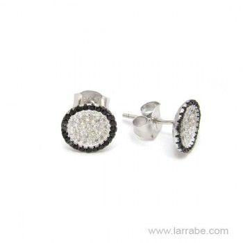 Pendientes de Plata con circonitas blancas y negras. #Pendientes #mujer #plata #moda #fashion