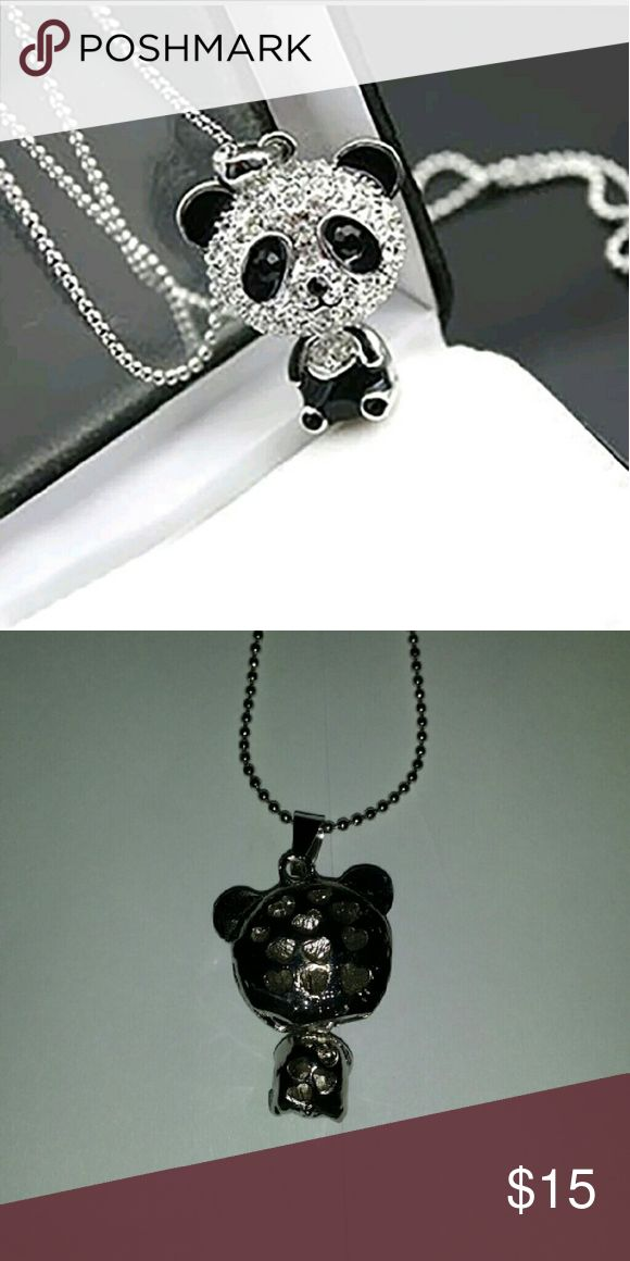 Diamond and Black Rhinestone Panda Necklace Very Cute Diamond and Black Rhinestone Panda Necklace Jewelry Necklaces