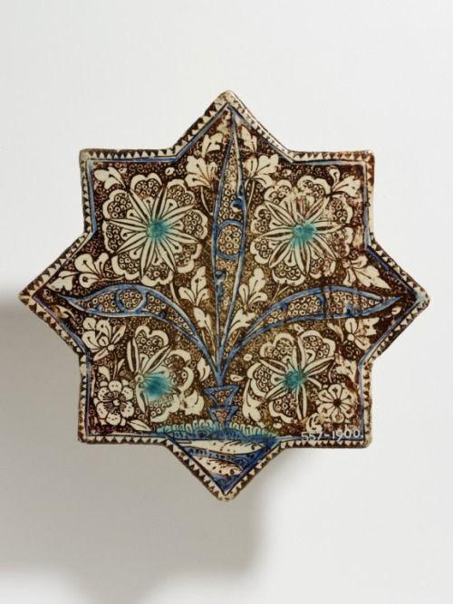 Iran, Kashan tile, glazed fritware, c. 1270.