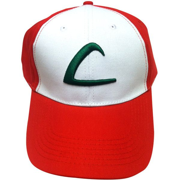 Ash Ketchum Baseball Cap Like The L Hat Worn In The Pokemon TV Show... ($11) ❤ liked on Polyvore featuring accessories, hats, white hat, white trucker hat, adjustable hats, baseball hats and red trucker hat