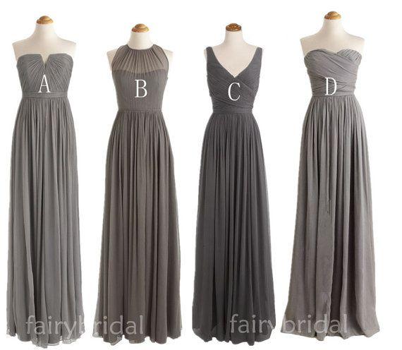 Charcoal grey bridesmaid dresses, long bridesmaid dresses, V- Neck/ Sweetheart / halter chiffon dress, one shoulder bridesmaid dress FB1104