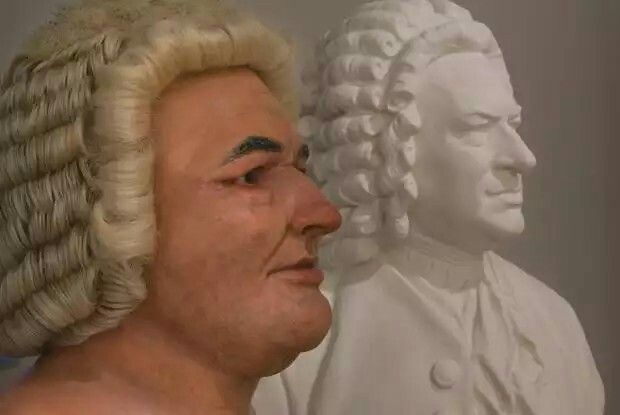 Bach's bust has sat on innumerable pianos for centuries, but he only posed for one portrait in his lifetime. So this reconstruction of his face—which was taken from a bronze cast of his skull—offers an interesting glimpse into the man beneath the 18th century wig. You get the same thick neck, underbite, and stern brow you see in the painting, but the reconstruction's friendly, confused stare lacks the soul of the real man … and his music, for that matter.