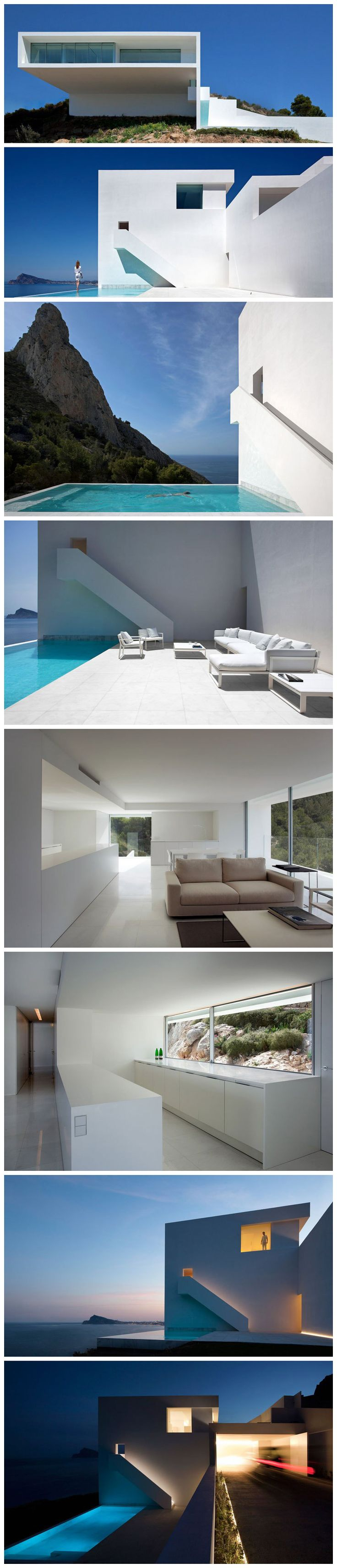 A Cliffside Home in Calpe, Alicante, Spain.  Designed by Fran Silvestre Arquitectos.  Photos by Diego Opazo.  Source: http://twistedsifter.com