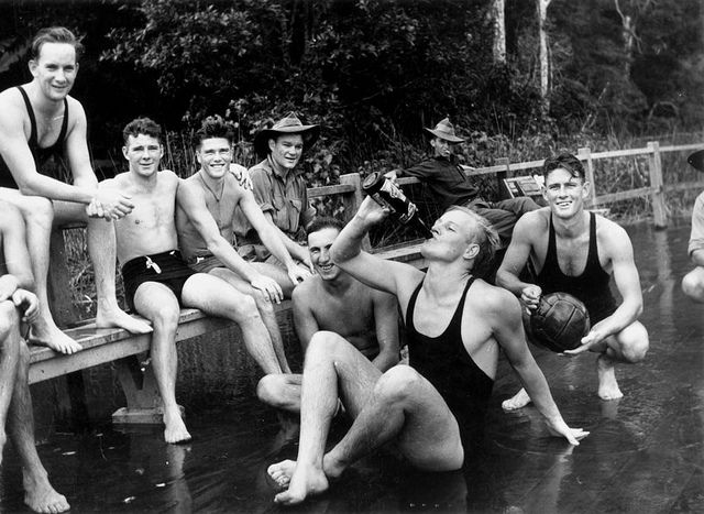 Taking a rest away from the war at a camp in North Queensland, 1943