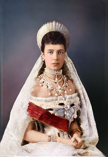 Princess Dagmar of Denmark upon her wedding day to Tsar Alexander III, becoming Marie Feodorovna, Empress of all the Russias, 1866.