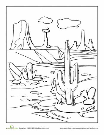 Worksheets: Desert Coloring Page