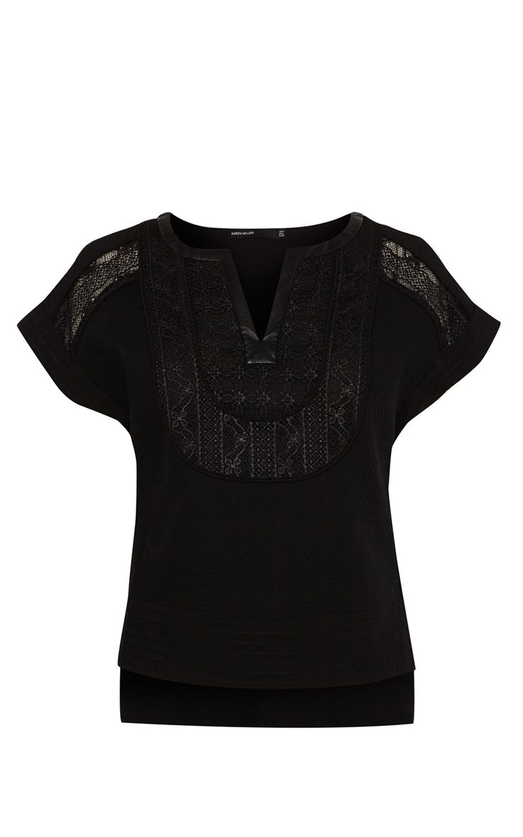Bib embroidery top | Luxury Women's shop_all | Karen Millen