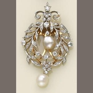 Bonhams | 2005 | 13320 lot 516 A diamond, pearl and platinum-topped gold clip-brooch Sold for US $1,880 inc. premium