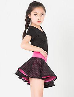Latin Dans Dragter Børne Ydeevne Spandex / Polyester Blonde 2 Dele Kort Ærme Skjørte / TopTop:XXS:42CM,XS:44CM,S:46CM,L:48CM Skirt: – DKK kr. 457