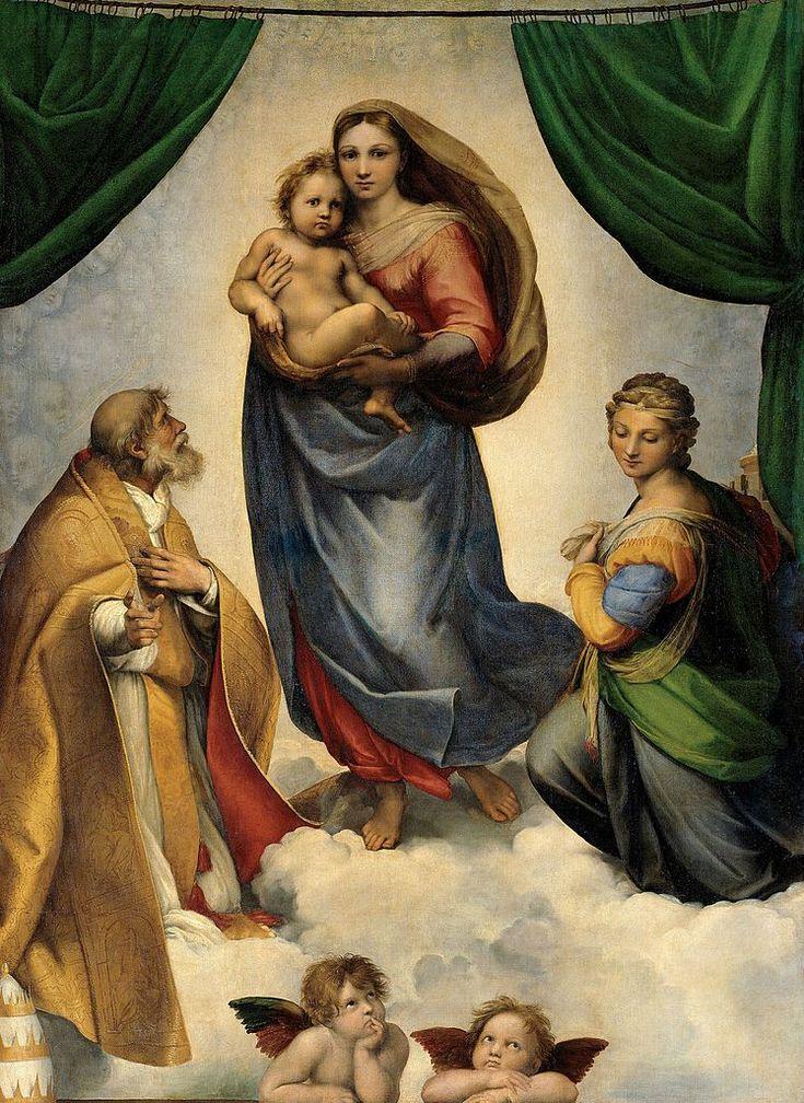 Raffaello, Madonna Sistina, olio su tela (265x196 cm), 1513-1514 circa, Gemäldegalerie di Dresda.