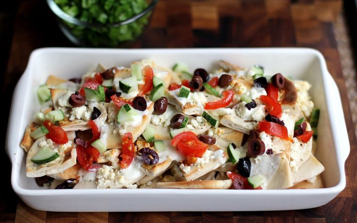 Greek nachos, maybe use pita chips instead.