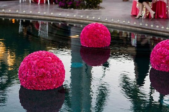 corporate, shower, birthday, decor | Love the floating flowers balls when there is a pool present at a wedding.  You can also do this when decorating a back yard party.