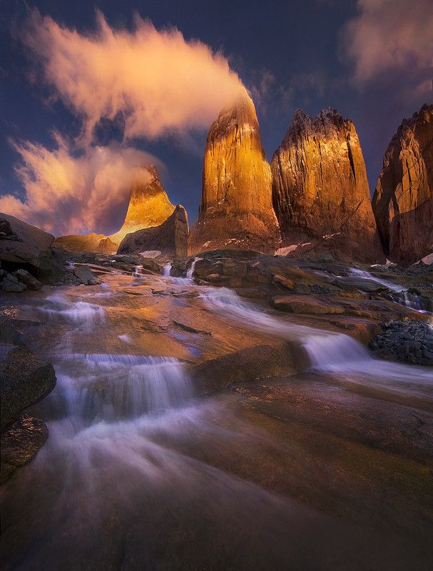 Golden Towers, Torres del Paine National Park, Chile.