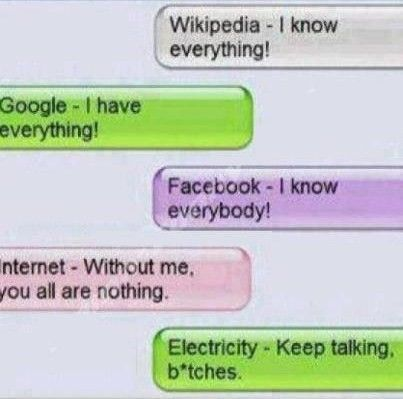 Texts between social networks, internet and electricity xd