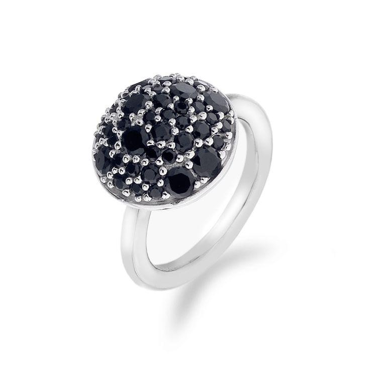Stříbrný prsten Hot Diamonds Emozioni Bouquet Black