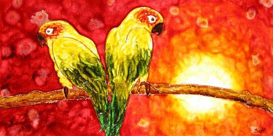 faux vitrail Les perroquets