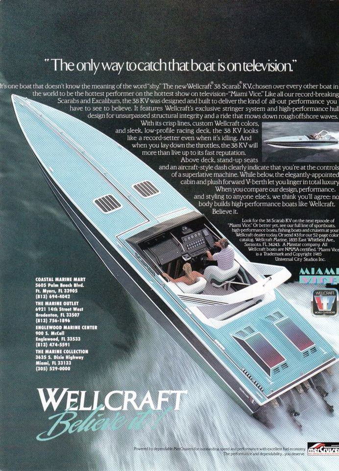 Wellcraft Scarab Ad Miami Vice And The 80s Power