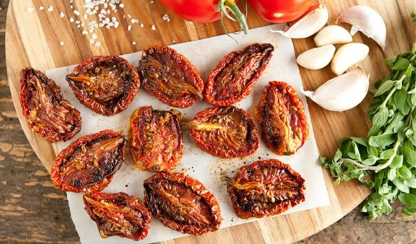 Sweet Oven-Dried Tomatoes  These homemade oven-dried tomatoes are sweet, delicious and addictive. Add to pastas, soups and sandwiches for an extra boost of flavour. For a quick appetizer, top toasted baguette slices with goat cheese, oven-dried tomatoes, basil and olive oil.   INGREDIENTS 12 plum or Roma tomatoes Coarse kosher salt or sea sa