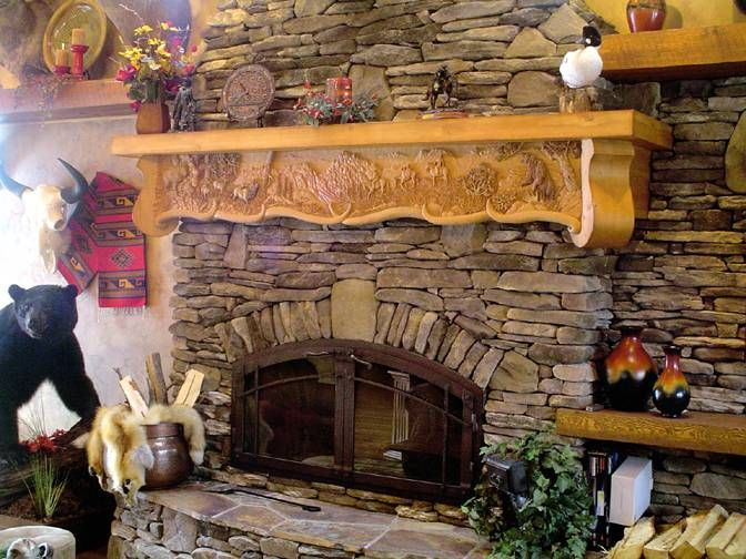 Hand Carved Fireplace Mantles Griz Wood Nesting