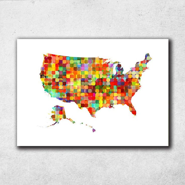 United States Map Print, US Print, United States Poster, US Map, Children Room, Watercolor Map, Room Decor, Map Poster (705) by PointDot on Etsy