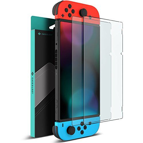 Nintendo Switch Screen Protector, Caseology [Newly Revised] [Tempered Glass] Transparent HD Clear Anti-Scratch Glass Screen Protector [2 Pack] Version 2.0 for Nintendo Switch (2017)
