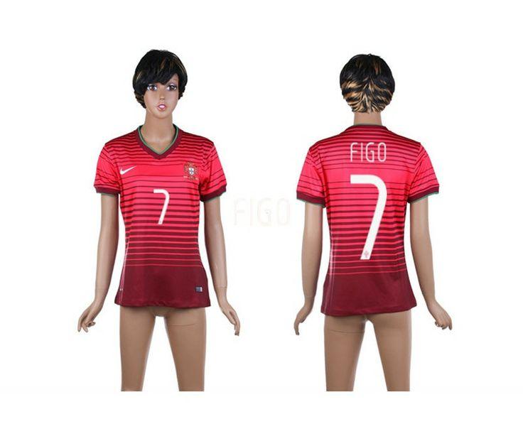 Portogallo Maglie Calcio Mondiali 2014 Donna Casa NO.7 Figo