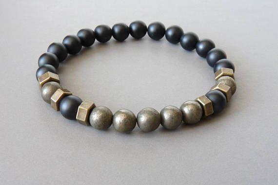Mens Bracelet Beaded Bracelet Elastic Stretch Gemstone Black