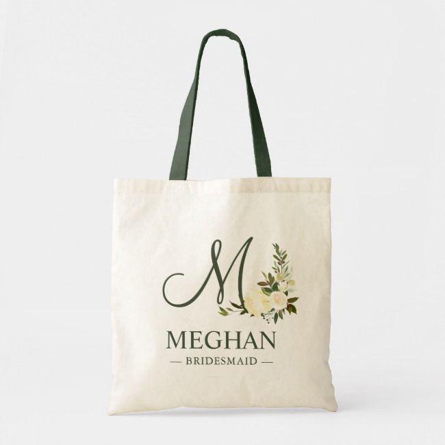 Wedding Gift for Bridesmaid Bag Greenery Script Initial Tote Bag Bridesmaid Gift Monogram Tote Bag Maid of Honor Eucalyptus,Monogram