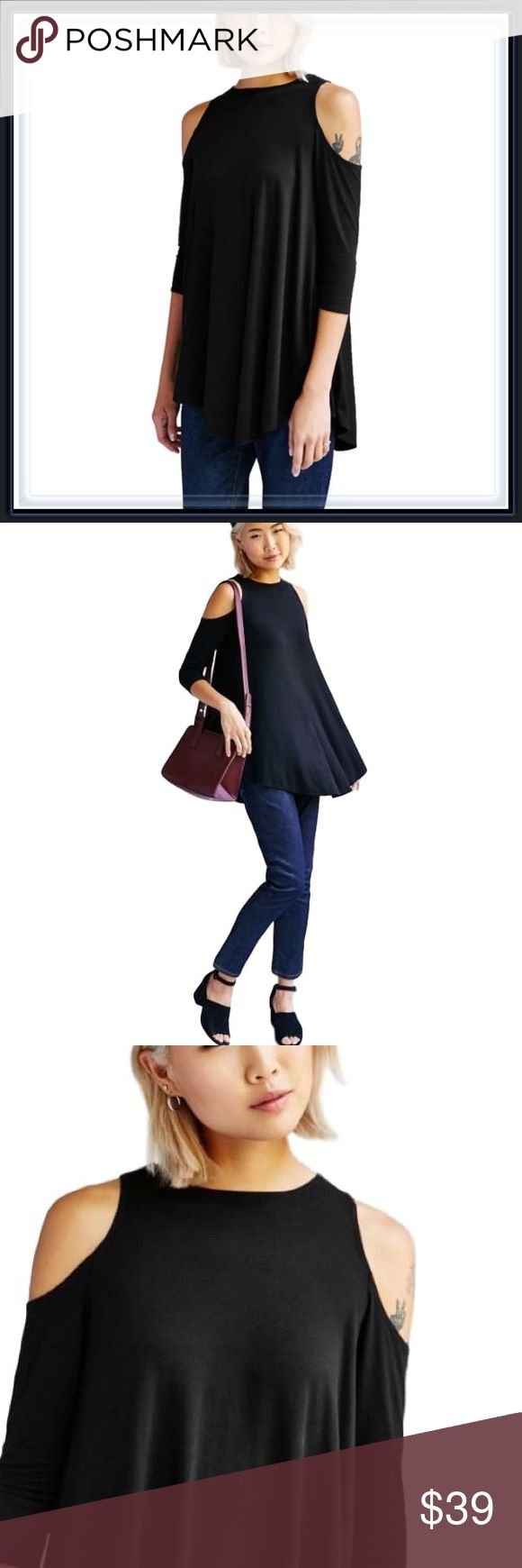 Black Sleek Cold Shoulder Top ➖SIZE: Small, Medium, Large ➖A sleek black Cold Shoulder Tunic Top    ❌NO TRADE   # off the shoulder Tops Tunics