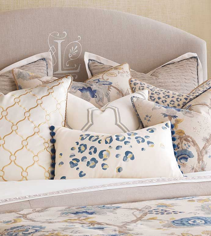Emory - asian bedding,asian style,traditional asian bedding,floral bedding,leopard print,cheetah print,animal print,blue and gold,blue and white,white and yellow,transitional,blue cheetah