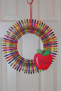 A crayon wreath. A perfect gift for teacher appreciation day that we could make.